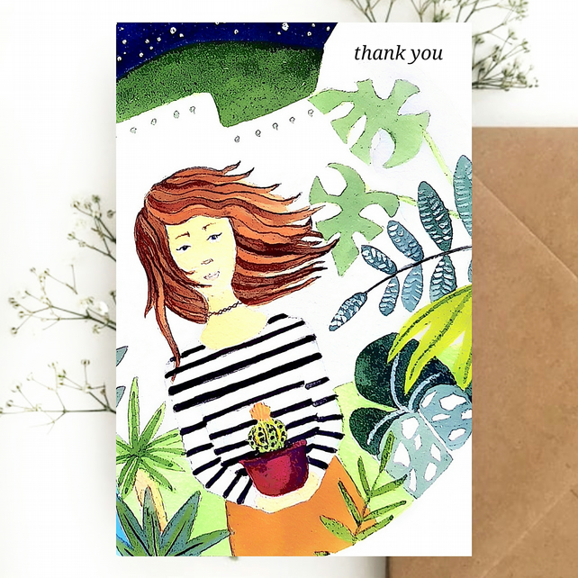 Pack of 10 Thank You Postcards with Brown Kraft Envelopes - Plant Lady