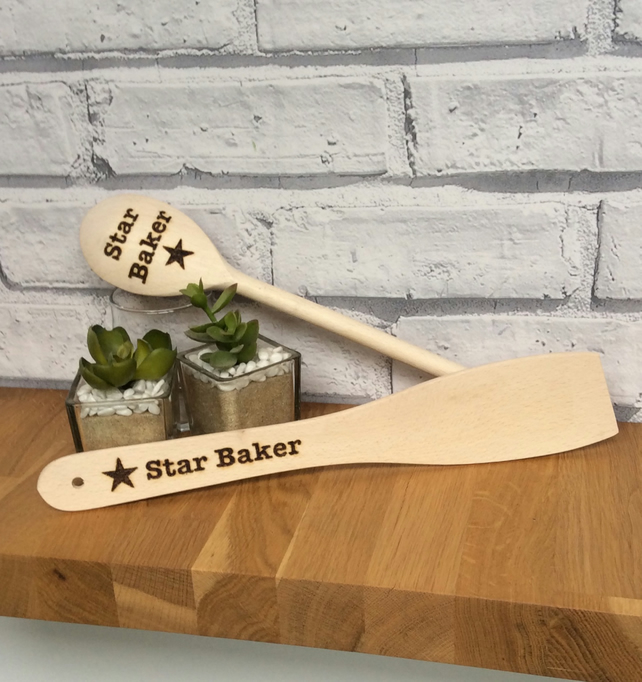 Wooden Spoon and Spatula Set Personalised