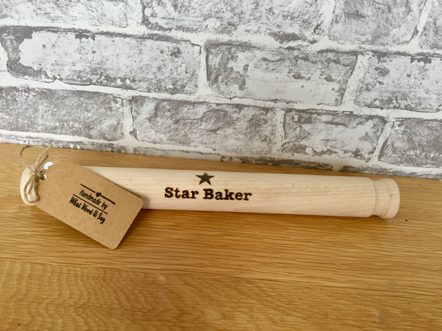 Star Baker Rolling Pin - Unique Kitchen Gift. Free UK P&P