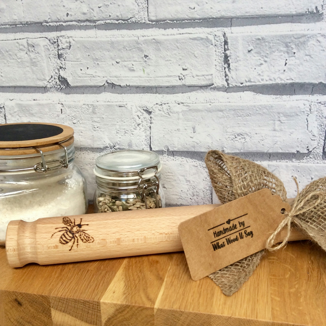 Bee Rolling Pin  Unique kitchen Gift