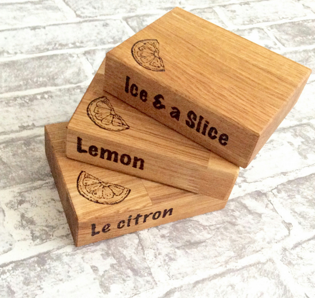 Oak lemon slicing block chopping board