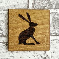 Oak Hare Coaster Solid Oak