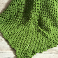 APPLE GREEN crochet Baby Blanket in acrylic