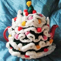 CHRISTMAS TREE Tea Cosy hand knitted available in two sizes