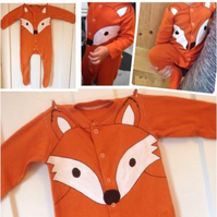 Woodlands orange foxy babygrow, newborn to three years
