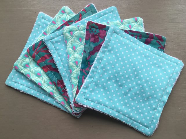 Set of 7 Reusable Bamboo Wipes - Facial Wipes - Reusable Baby Wipes - Reusable M