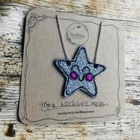 Silver Star Glitter Necklace