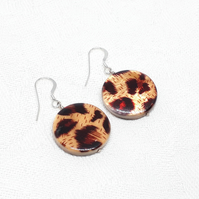 Leopard print shell earrings