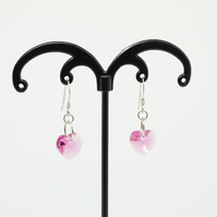 Pink Swarovski Heart Earrings