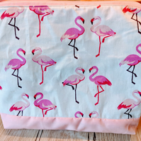 Handmade flamingo makeup bag, travel bag, accessories bag