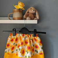 Children's skirt with sunflower pattern - age 2-3