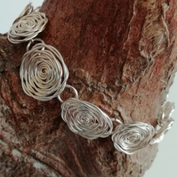 Glasgow Silver Rose Mackintosh Style Bracelet, Gift For Her