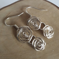 Glasgow Silver Rose Mackintosh Style Earrings, Gift For Her