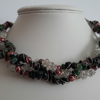 Fruits of the Forest Necklace. Prasialite, Ruby Zoisite, Pearl Jewellery, Gitf