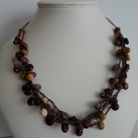 Mookaite Crochet Necklace. Gift for Her.