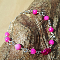 Glasgow Fuchsia Pink Rose Necklace. Gift for Her.