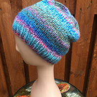Hand Knitted Chunky Yarn Slouchy Beanie Hat