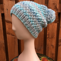 Hand Knit Slouchy Textured Pompom Hat