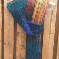 Hand Knitted Boho Lace Stitch Long Scarf