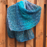 Hand Knitted Rectangular Lace Stitch Wrap Shawl