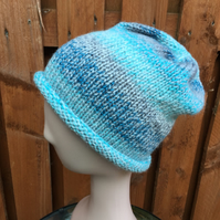 Handknit Roll Brim Stocking Stitch Beanie Hat