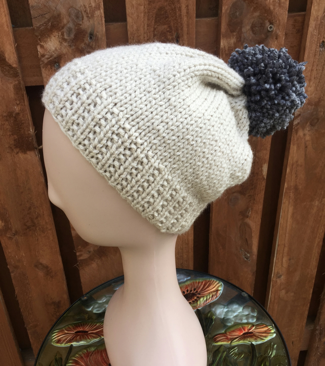 Hand Knitted Chunky Yarn Pompom Hat