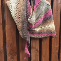 Hand Knitted Lightweight Asymmetrical Shawl Wrap