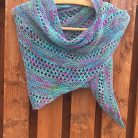 Handknit Cotton Shawl Wrap