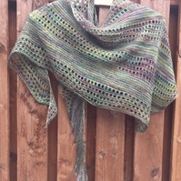 Handknit Malabrigo Lace and Garter Stitch Shawl Wrap