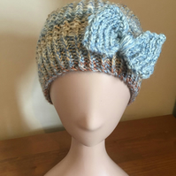 Handknit Bow Trim Textured Beanie Hat