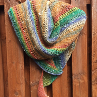 Hand Knitted Northern Lights Triangular Shawl