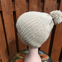Hand Knitted Ribbed Chunky Yarn Pompom Hat