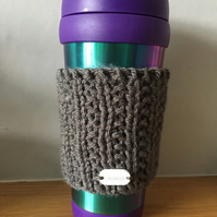 Hand Knitted Travel Cup Cosy Sleeve