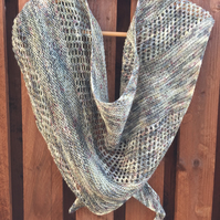 Hand knitted merino wool asymmetrical shawl wrap