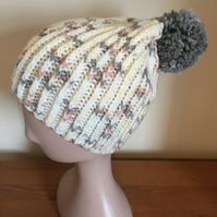 Hand Knitted Twisted Rib Pompom Hat