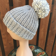 Hand Knitted Ribbed Pompom Hat
