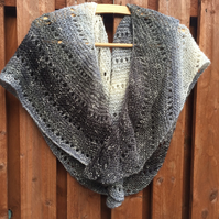 Hand Knitted Asymmetrical Shawl Wrap