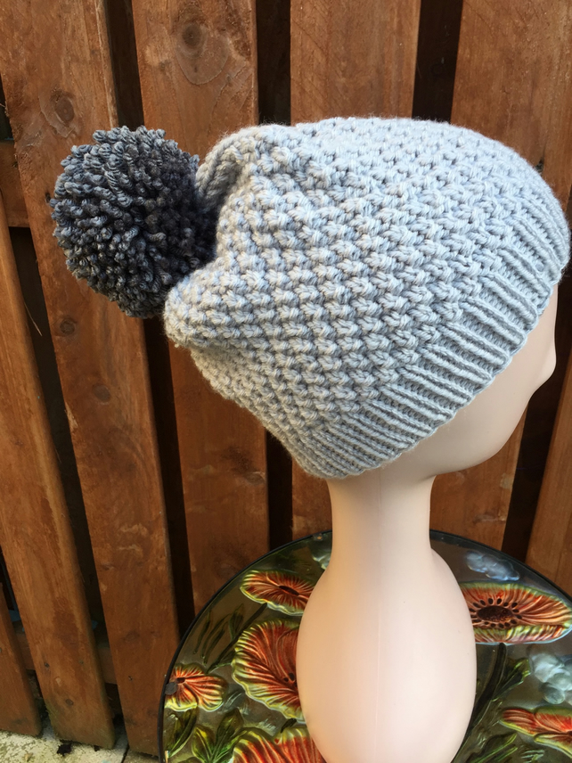 Hand Knitted Chunky Yarn Seed Stitch PomPom Hat