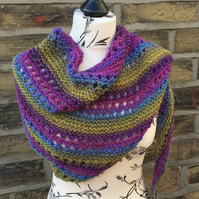 Hand Knitted Asymmetrical Garter Stitch and Eyelet Shawl Wrap