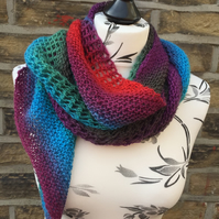 Handknit Lace and Garter Stitch Bias Knit Scarf