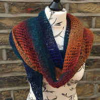 Handknit Lace and Garter Stitch Scarf Wrap