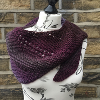 Hand Knitted Shorter Length Wool Blend Asymmetrical Triangle Shawl