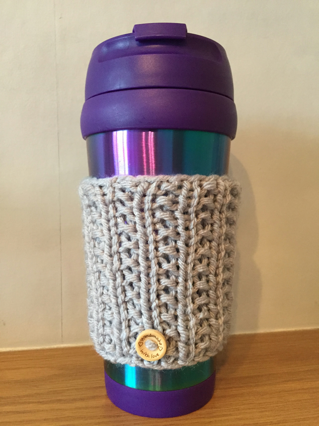 Hand knitted travel cup cosy
