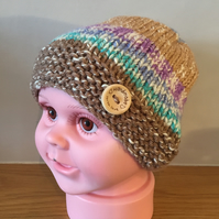 Hand Knitted Baby Beanie Hat age 6-12 months