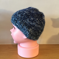 Hand Knitted Blue Newborn Baby Beanie Hat