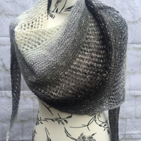 Hand Knitted Asymmetrical Cotton Blend Shawl Wrap