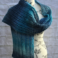 Hand knitted Lace Stitch Blue Scarf