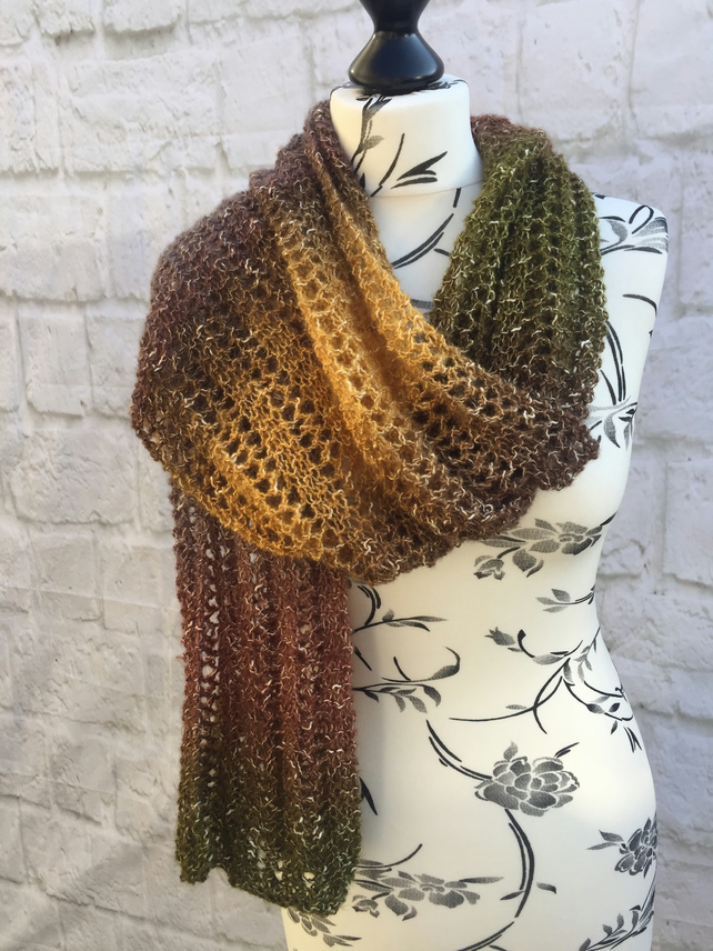 Hand Knitted Lace Stitch Multicoloured Scarf