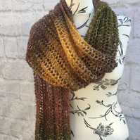 Hand Knitted Lace Stitch Earthy Tones Scarf