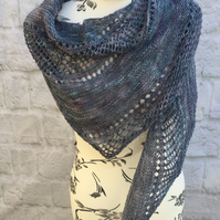 Hand Knitted Luxury Lace Weight Merino Wool and Silk Shawl